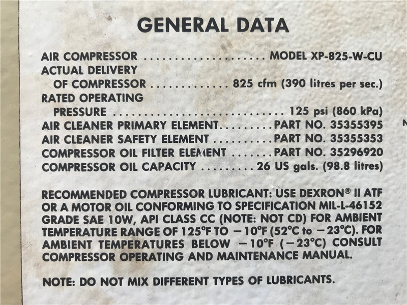 1988 Ingersoll-Rand XP-825-W-CU 825/125 Air Compressor ... on